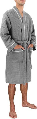 Morgenmantel für Herren aus weicher Baumwolle mit Waffeloptik Farbe Grau Größe M