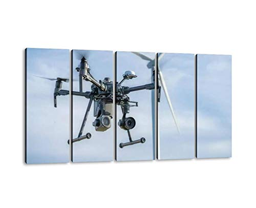 5 Panels Art Wall Decor Industrial drone equipped with two cameras for inspection of rotor Artwork Modern Canvas Prints Office Bedroom Home Decor Framed Painting Ready to Hang (60''Wx32''H)