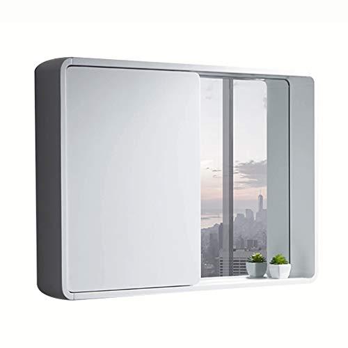 Badkameraccessoires Badkamer spiegelkast huishoudelijke massief houten spiegel box Toilet spiegel met plank wandmontage Creative schuifdeur (Color : White, Size : 80 * 14 * 65cm)