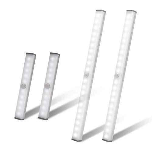 YISUN Unterbauleuchte Küche - 2er Pack 20 und 2er Pack10-LED Küchenlampe,Mit Schalter, 3 Helligkeit und eingebautem Magnet Schranklicht - für Kleider, Küche, Flur und Notfälle - Weiß (Weiß)