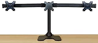 EZM Deluxe Triple Monitor Mount Stand Free Standing with Grommet Mount Option Supports up..