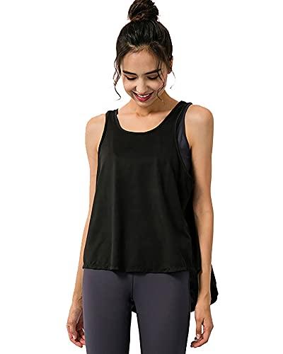 Camiseta deportiva para mujer, ajuste seco, para yoga, ajuste holgado, sin mangas