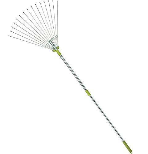 MLTOOLS Leaf Rake | 64-inch Adjustable Garden Leaf Rake | Garden Leaf Rake | Flat Tine Adjustable Steel Rake with Extendable Handle R8236