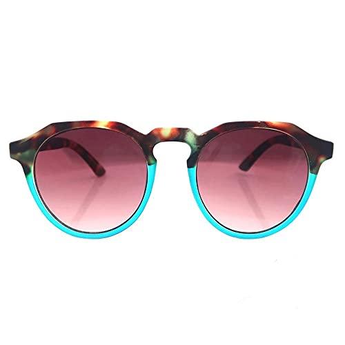FEINENGSHUAInstyj Gafas Sol Mujer, Gafas de Sol Señoras Moda Retro Vintage Gafas Damas Media Azul con Efecto de Goma Efecto Gafas