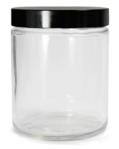 Qorpak GLC-01708 Clear Glass 16oz Straight Sided Tall Jar, with 63-400 Black Polypropylene Cap and PTFE Disc (Case of 12)