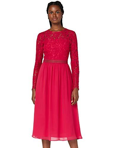 Amazon-Marke: TRUTH & FABLE Damen Midi A-Linien-Kleid aus Spitze, Pink (Fuchsienrosa), 32, Label:XXS