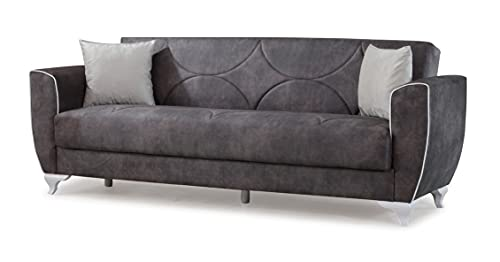 Sofá cama Sude clásico de tres plazas clic clac con contenedor de almacenamiento, microfibra negra, ideal para hall hoteles y zonas de salón.