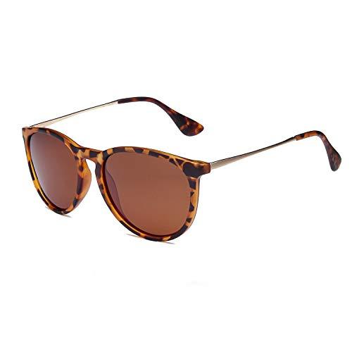 SKYWAY Polarized Sunglasses Vintage Retro Round Mirrored Lens for Women Men (Tortoise)