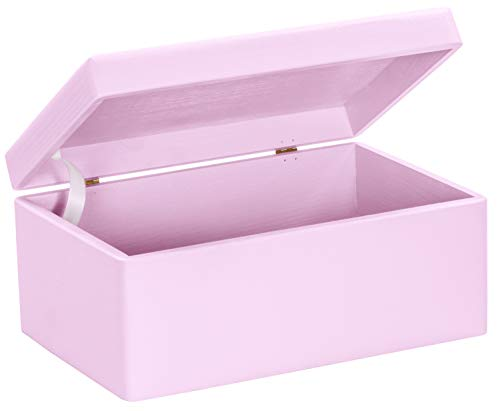 LAUBLUST Große Holzkiste mit Deckel - 30x20x14cm, Rosa, FSC® | Allzweck-Kiste aus Holz - Aufbewahrungskiste | Spielzeug-Truhe | Erinnerungsbox | Geschenk-Verpackung | Deko-Kasten zum Basteln