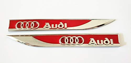 YONGHONG Emblem Badge Sticker Wing Fender Metal for Audi S LINE RS TT S5 R8 Q3 Q5 Q7 S3(red)