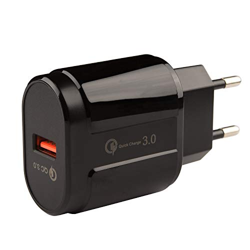 tecnan Ladegerät 3A | 18W Quick Charge 3.0 USB Netzteil Stecker Ladestecker Adapter Charger kompatibel mit iPhone X XS Max 7 8 Plus, iPad, Samsung S8 S9 Plus, Huawei P20 Pro (Schwarz)