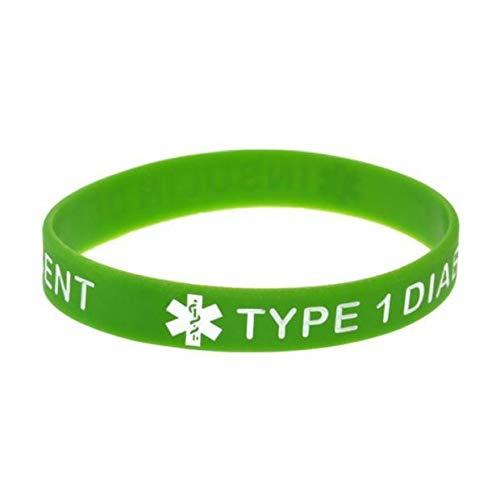 ZWH diabético Tipo 1' Advertencias Sanitarias Pulsera De Silicona Suave Pulsera Grabada Coloración Verde (Color : Green)
