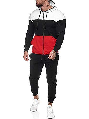 Code47 | Herren Trainingsanzug | Jogginganzug | Sportanzug | Jogging Anzug | Hoodie-Sporthose | Jogging-Anzug | Trainings-Anzug | Jogging-Hose | Modell JG-1083 Weiss-Schwarz-Rot M
