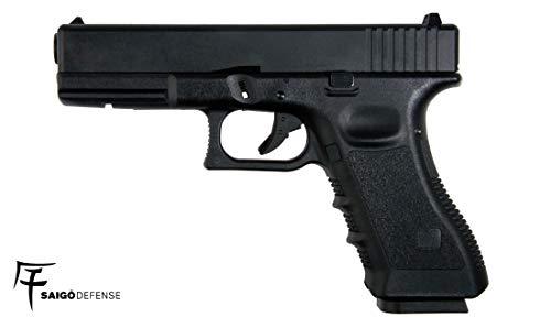Saigo Airsoft – Pistole 17 schwarz Gas Halbautomatik – Mobil aus Metall – Leistung 0,5 Joule