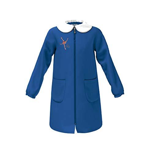 siggi Grembiule Scuola Linea Happy School - Elementare Bambina Colore Blu con Ricamo - Abbottonatura Centrale con Zip, Colletto Bianco. Disponibile nelle taglia dalla 5 a 15 anni