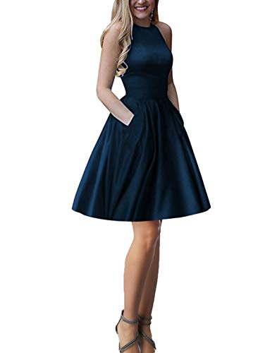 LINDO NOIVA Women's Halter Short Homecoming Dress for Juniors 2019 A Line Cocktail Gown L063 Navy Blue Size 14