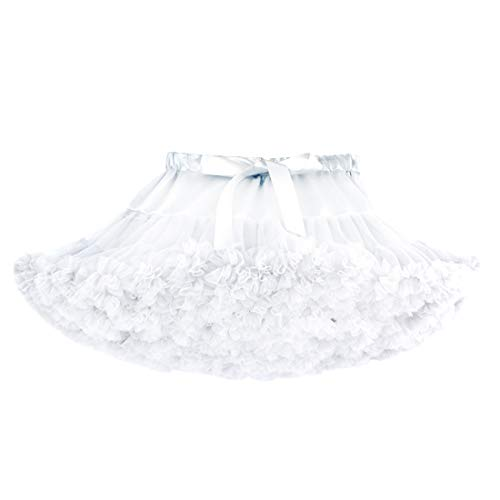 DoGeek Tüllrock Kinder Tütü Rock Kurz Ballet Tanzkleid Unterkleid Cosplay Petticoat Kleid Zubehör, Weiß, S