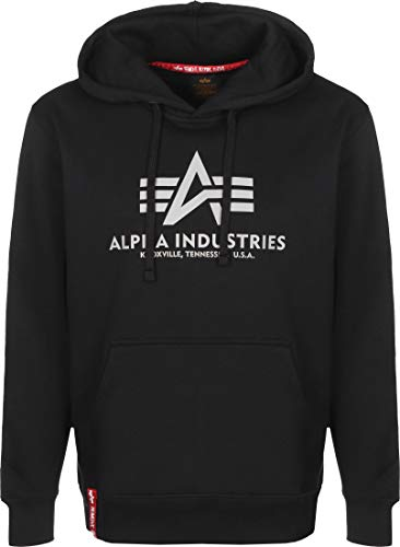 ALPHA INDUSTRIES Herren Basic Hoody Reflective Print Sweatshirt, Negro, L