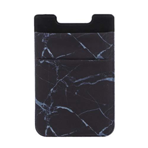 Tarjetero de Crédito en diseño mármol para Smartphone, Cartera de teléfono portátil Adhesivo de Bolsillo Adhesivo CAS, Negro (Negro) - Mentin