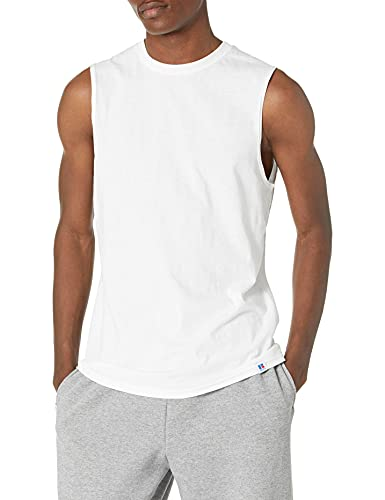 Russell Athletic Men's Cotton Performance Sleeveless Muscle T-shirt,White,Medium