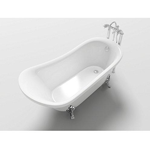Bagno Italia Bañera de baño 160x72x75 freestanding, estilo retrò ovalado clásico para los pies