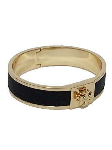 Tory Burch Women's Small Leather Inlay Cuff Bracelet Bangle (Black - Tory Gold)