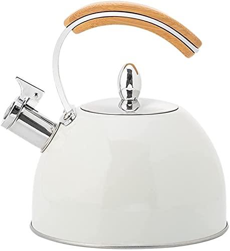 Hervidor de agua de acero inoxidable con mango de madera de 3 L, 1 unidad, hervidor de agua de 3 L, para cocina de inducción, color blanco (color: blanco)