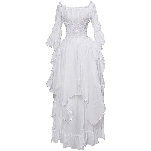Vestido de mujer gótico irregular estilo vintage medieval ropa de mujer cosplay traje blanco