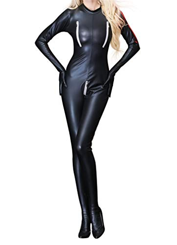 YouYaYaZ Damen Bodys Dessous Nachtkleid Party Sexy Overall Lack Anzug Wetlook Catsuit Catlady Kostuem(Schwarz,2XL)
