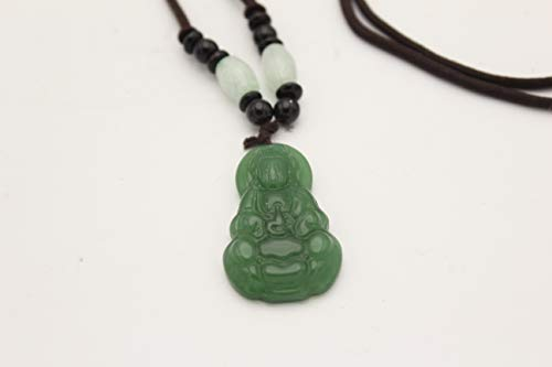 EastMeetsWest Chinese Jadeite Mercy Kwan Yin   Guan Yin Buddha Necklace Lucky Feng Shui Protection Hanging Ornament