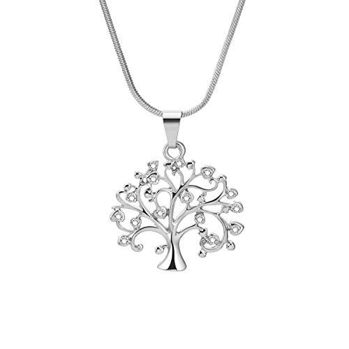 Ouran - Collana con ciondolo a forma di albero della vita, da donna, in oro o argento, con cristalli di zirconia cubica, per donna o ragazza e placcato Argento, cod. XL-0136