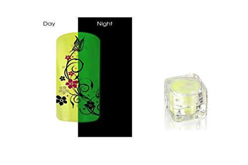 Poudre Phosphorescent Gel uv ongles - Brille la nuit - Jaune REF8586