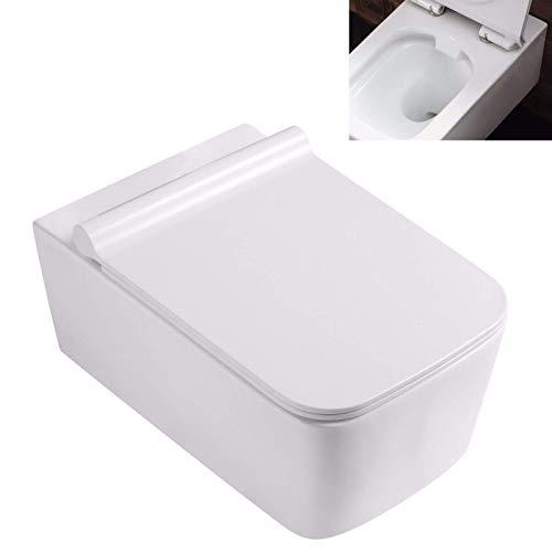 Lux-aqua Spülrandlos Wand Hänge WC Toilette Tiefspüler mit Nano-Beschichtung eckig 2122-D-N, Weiß