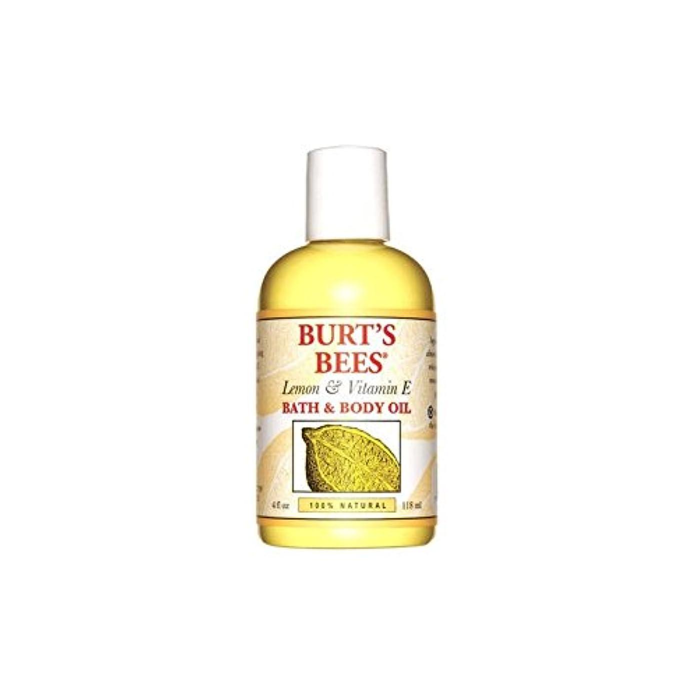 鮮やかなかんがい配分バーツビーレモン&ビタミンバス&ボディオイル(4オンス/ 118ミリリットル) x4 - Burt's Bees Lemon & Vitamin E Bath & Body Oil (4 fl oz / 118ml) (Pack of 4) [並行輸入品]