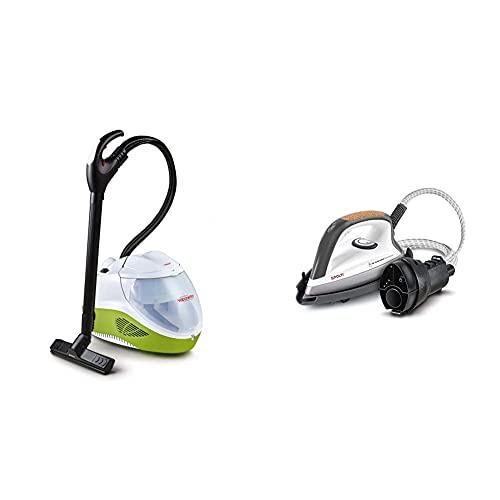 Polti Vaporetto PVEU0085 Lecoaspira FAV80_Turbo Intelligence - Limpiador a vapor y aspirador con filtro de agua, 6 bar de potencia de vapor + Polti PFEU0036 - Plancha accesorio Fluid Curve
