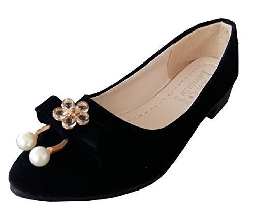 PXG - 084 - Zapatos para mujer, color negro, ante sintético, perlas blancas, hebilla con forma de flor