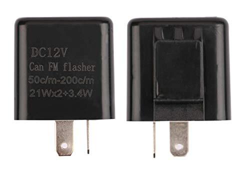 2 Pack 12V 2-Pin Motorcycle Adjustable Flasher Turn Signal LED Flasher Relay Hyper Indicator Flash- Black