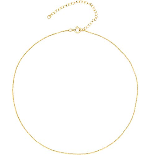 BENIQUE Dainty Thin Chain Choker Necklace for Women Girls - 925 Sterling Silver, 14K Gold Filled, Rose Gold Filled, Adjustable Extender, Delicate Jewelry, Made in USA, 13' 14' 15' 16' 17' 18' (G/16)