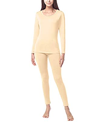 LAPASA Women's Lightweight Thermal Underwear Long John Set Fleece Lined Base Layer Top and Bottom L17 (Large, Nude)
