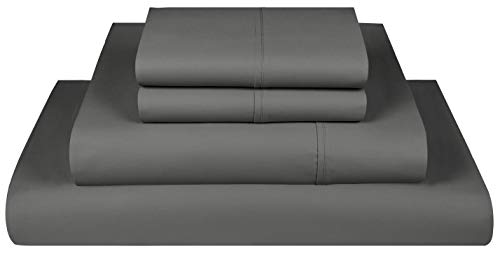 Threadmill Home Linen 800 Thread Count Full Size Sheet Sets  100% ExtraLong Staple Cotton Sheets for Full Size Bed with Deep Pocket Luxury 4 Piece Bedding Set Smooth Sateen Weave Dark Grey