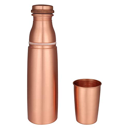 Zap Impex Travellers Pure Copper Water Bottle with Glass Joint Free