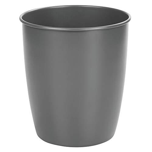 MDESIGN Abfallsammler aus Metall – schicker Papierkorb für Bad, Büro und Schlafzimmer – großer Mülleimer für Papier etc. – Mattes Grau