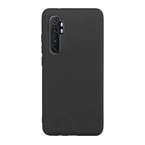 CUZZCASE Funda para Xiaomi Mi Note 10 Lite+{Protector de Pantalla de Vidrio Templado} Carcasa Silicona Suave Gel Rasguño y Resistente Teléfono Móvil Cover-Negro