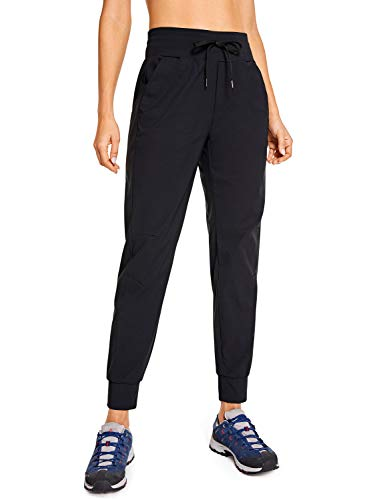 CRZ YOGA Women's Hiking Pants Lightweight Quick Dry Drawstring Joggers with Pockets Elastic Waist Travel Pull on Pants Black X-Large