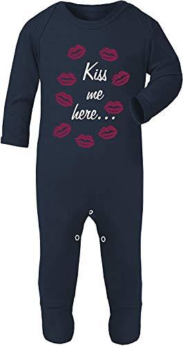 Colour Fashion Double-Face Bisou Moi Here Bébé Déguisement Pyjama Footies 100% Coton Hypoallergénique - Bleu Marine, 0-3 Months