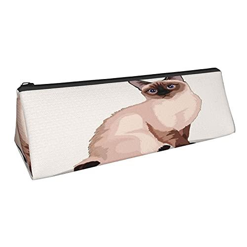 Bolsa de lápices con diseño de gato con forma de triángulo, duradera, para artículos de papelería