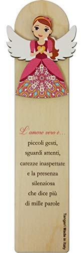 SEGNALIBRO EMOZIONALI CM.5,5X18,5 Amore in Legno Naturale con Originale Dedica. Made in Italy