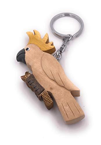 H-Customs Kakadu Vogel Papagei Tier hell Holz Edel Handmade Schlüsselanhänger Anhänger