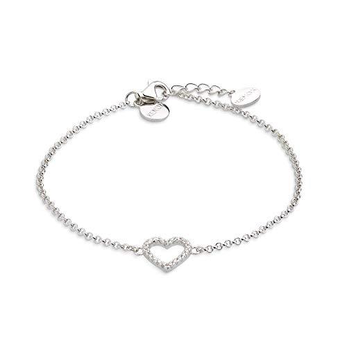XENOX XS2784 Damen Armband Herz Love Story Sterling-Silber 925 Silber weiß Zirkonia 20 cm