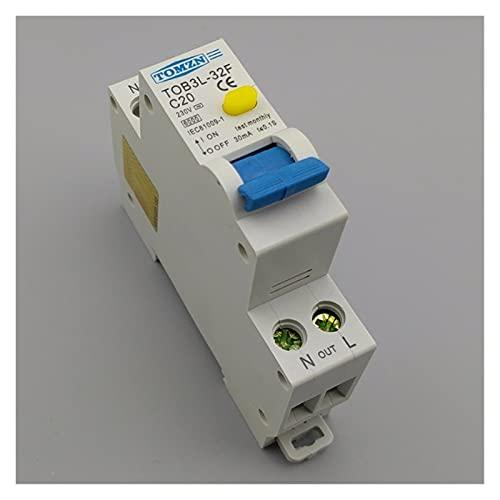 Lyjun 18mm RCBO 20A 1P + N 6KA Interruptor de Corriente Residual Diferencial automático con la protección contra Corriente y Fugas